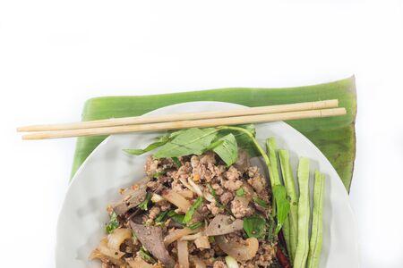 gourmet food: ensalada picante de carne de cerdo picada, pur� de cerdo picada con especias, comida tailandesa