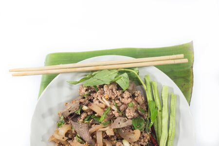 delicious food: spicy minced pork salad, minced pork mash with spicy, Thai food