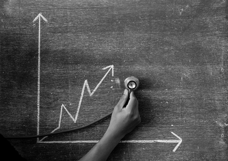 height chart: graph drawn on a blackboard,greenboard Stock Photo