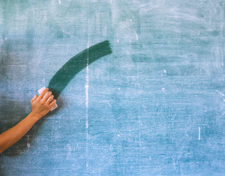 greenboard: Hand cleaning  chalkboard, blackboard,greenboard Stock Photo