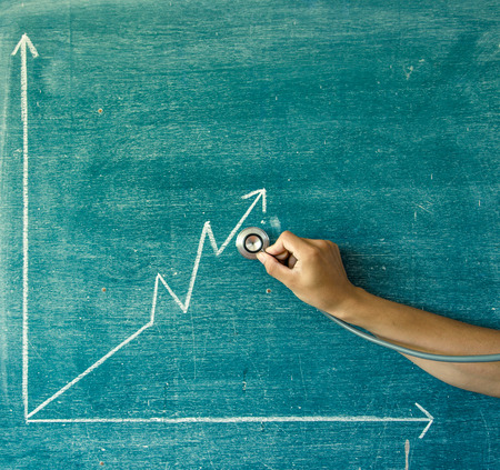 height chart: graph drawn on a blackboard,greenboard Stock Photo