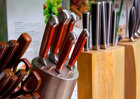set of kitchen knifes in the holder