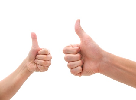 reaching hand: two hands making thumbs up gesture