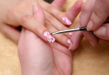 close up painting nails