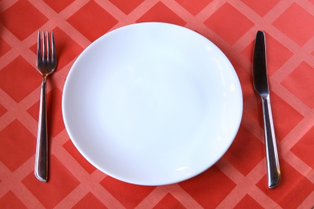 empty plate with fork and knife on the table