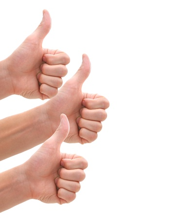 Isolated thumbs up for your product and service