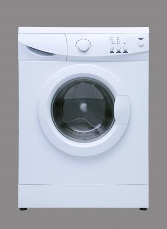 White washing machine isolated on grey