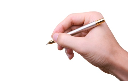 hand with pen writing signing isolated on white