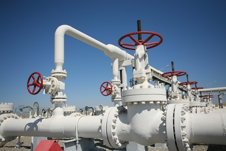 valves: Oil and gas processing plant with pipe line and valves