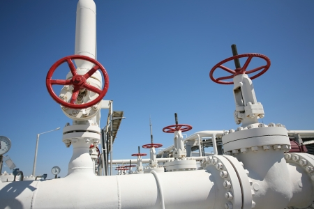 Oil and gas processing plant with pipe line and valves