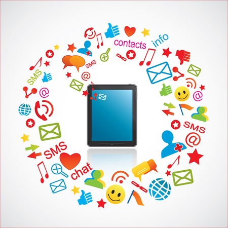 Smartphone and communication icons Vettoriali