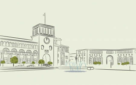 Hand drawing of Republic Square in Yerevan Illustration