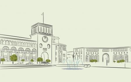 armenia: Hand drawing of Republic Square in Yerevan Illustration