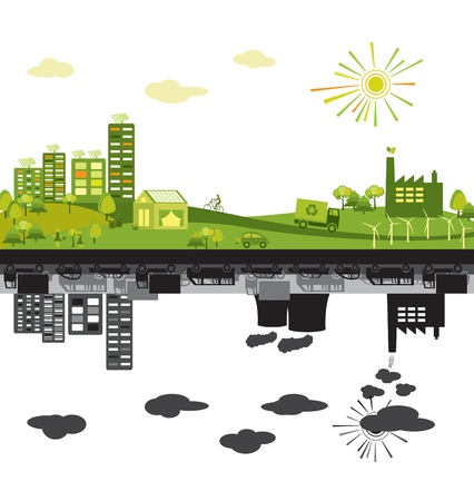 Green and polluted cities Stock Vector - 14560341