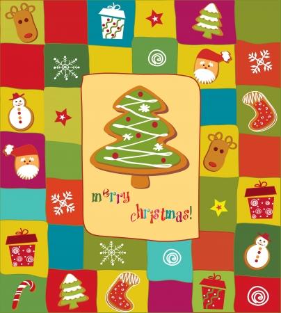 holiday cookies: Feliz Navidad tarjeta de Vectores