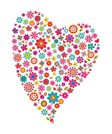 Colorful flower heart
