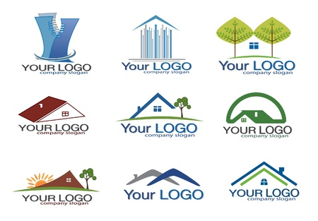 real: Real estate logo set