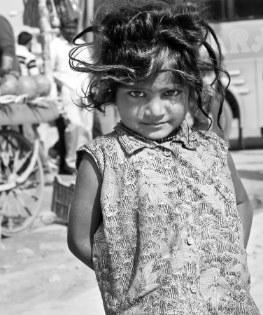 India, Jaipur, Rajastan, March 2011, poor girl on the streets of Jaipur city Editorial