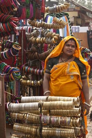 India, Delhi, February 2011, Sarojini market, woman selling accessories Editorial