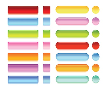 Set of colorful glossy buttons Illustration