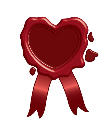 red wax seal: Wax heart stamp Illustration