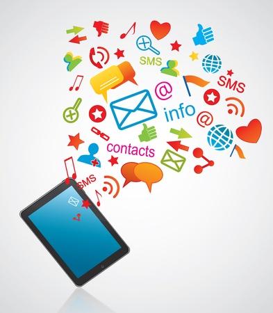 Smartphone and communication icons Illustration