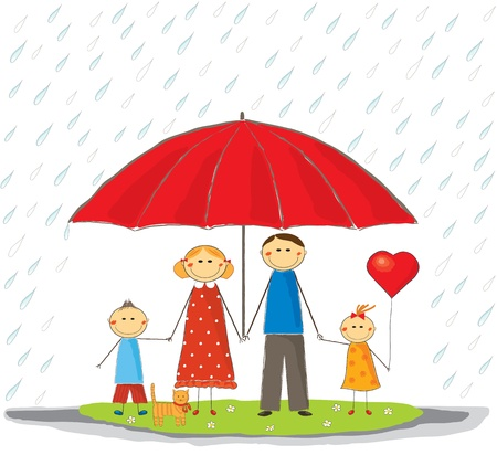 Happy protected family outdoors