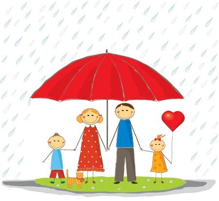 Feliz protegidos familia al aire libre Ilustración de vector