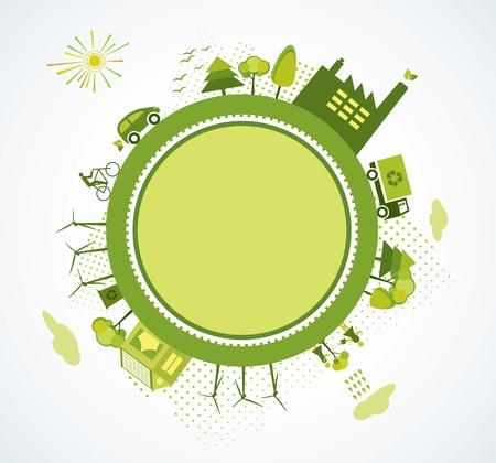 camion de basura: Mundo verde, planeta verde, vaya verde Vectores