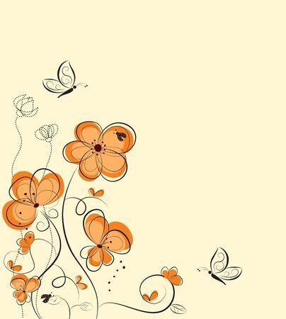 Retro floral background, border