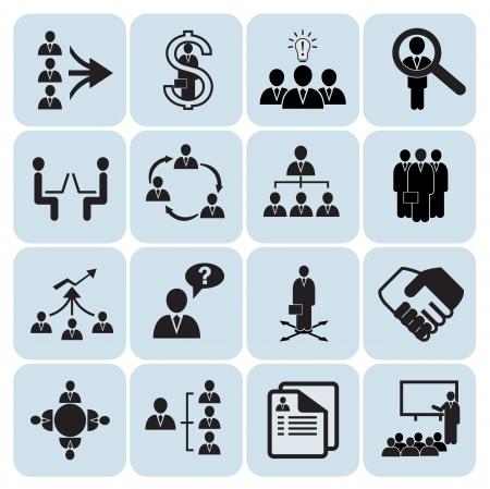 jerarquia: Conjunto de 16 administraci�n, negocios y los iconos de los recursos humanos Vectores