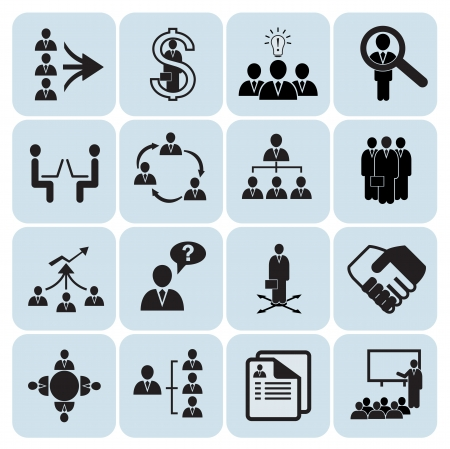 hierarchy: Set of 16 management,business and human resources icons Illustration