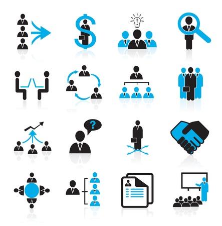 management concept: Conjunto de 16 administraci�n, negocios y los iconos de los recursos humanos Vectores