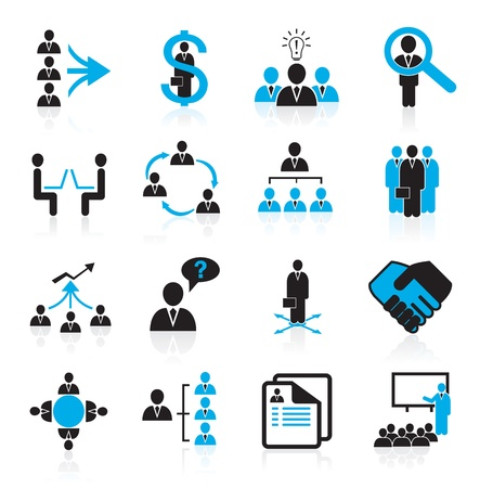 human resource management: Set of 16 management,business and human resources icons Illustration