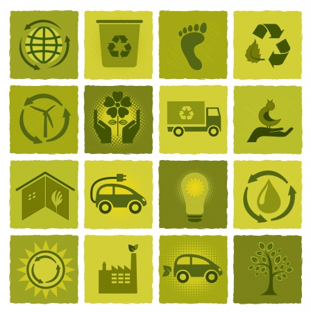 Set of 16 green ecology icons