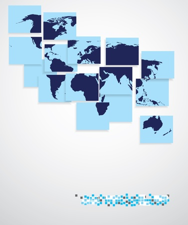 World map in squares, background Illustration