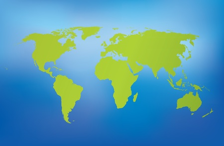 Detailed green world map on blue background