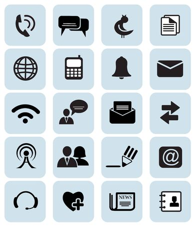 Set of 20 black communication icons Stock Vector - 15476396