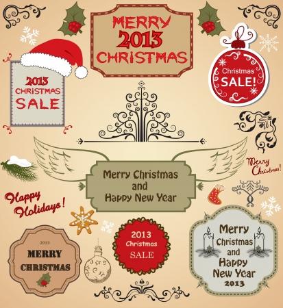 Christmas tree, frames and design elements Illustration
