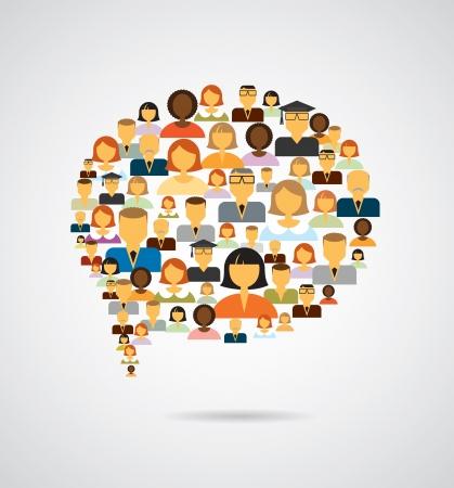 colaboracion: Burbuja del discurso hecha de iconos de diferentes personas Vectores