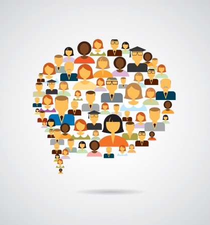 Speech bubble made of different people icons Vector