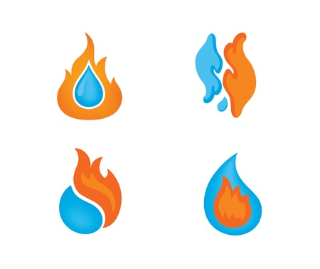 burns: Fire and water logo designs