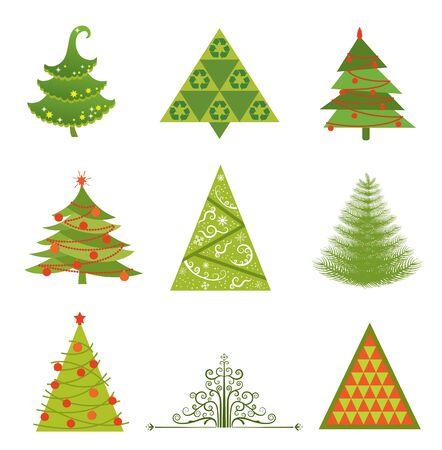 Set of 9 Christmas tree designs