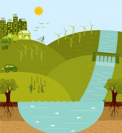 mundo contaminado: Piensa en verde, vaya ambiente verde y sostenible Vectores