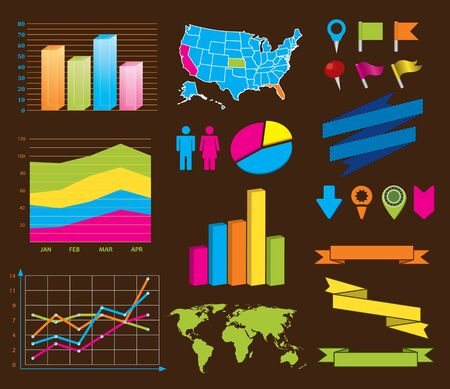 World and USA maps, navigation icons,banners and other design elements