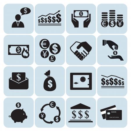 bank manager: Dinero y finanzas iconos Vectores