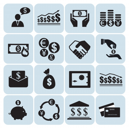 exchange loss: Money and finance icons