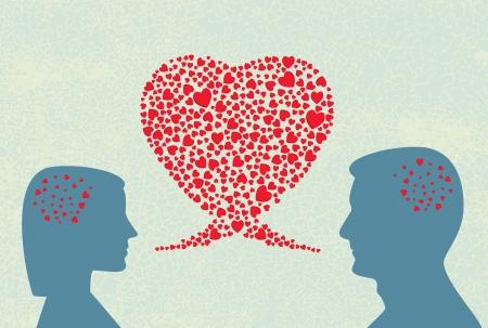 deux personnes qui parlent: Dialogue amour Illustration