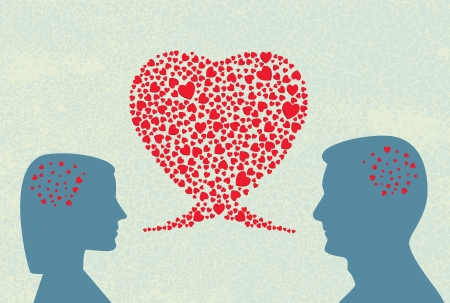 two men talking: Love dialogue Illustration