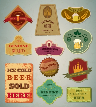 barley hop: Old vintage beer labels Illustration